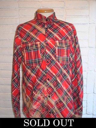 【kiryuyrik/キリュウキリュウ】Bleach Tartan Check Cut Hem Shirts (RED)