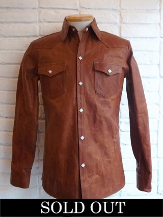 【STRUM/ストラム】Domestic Full Tanned Calf skin with ITALIAN OIL/WAX W-SHIRT (BROWN)