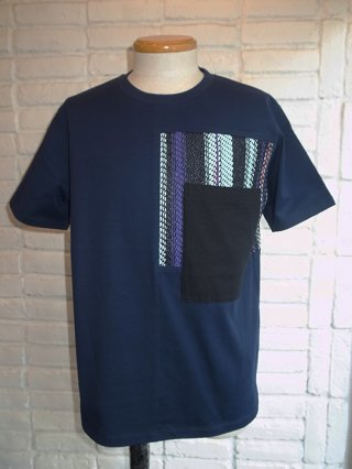 【COOHEM/コーヘン】SUMMER STRIPE TWEED T-SHIRT (NAVY)