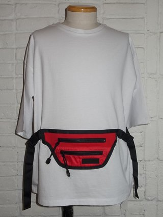 【SUPERTHANKS/スーパーサンクス】WAIST BAG BIC T-SHIRT (WHITE/RED)