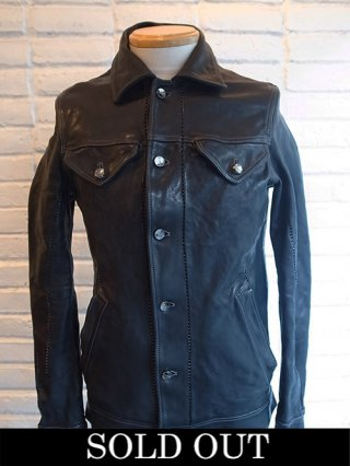 【incarnation/インカネーション】HORSE LEATHER JEAN JACKET O/P ARM LINED (BLACK)
