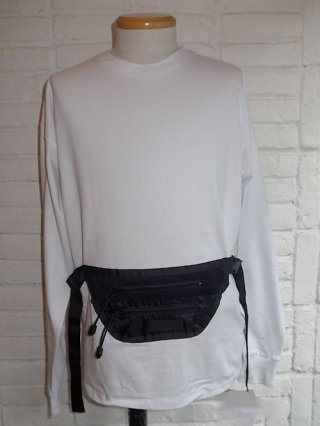 【SUPERTHANKS/スーパーサンクス】WAIST BAG BIC L/S T-SHIRT (WHITE/BLACK)