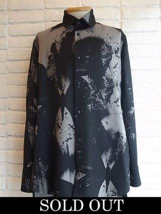 【kiryuyrik/キリュウキリュウ】InkJet Serge Long Tail Shirts (Black&Gray)