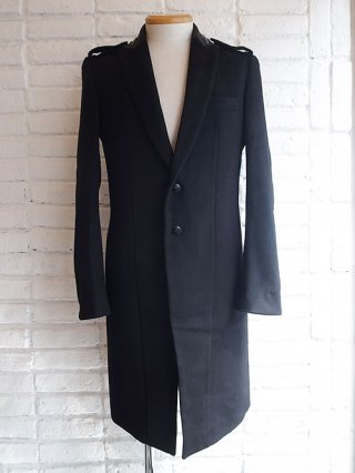【kiryuyrik/キリュウキリュウ】Casimmer Beaver Studs Collar Long Jacket (BLACK)
