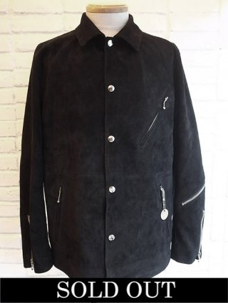 【STRUM/ストラム】Domestic Calf Suede Coach Jacket (BLACK)