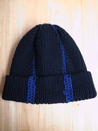 【tashiro/タシロ】HANDKNIT CAP (BLACK×BLUE)