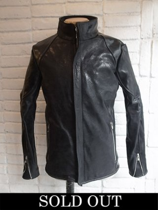 【incarnation/インカネーション】HORSE BUTT+HORSE SHINNY LEATHER H/N MOTO LINED BLOUSON (BLACK)