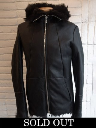 【incarnation】SHEEP SHEARLING HOODED BLOUSON (BLACK×BLACK)