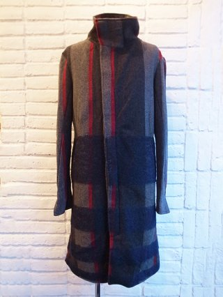 【incarnation】WOOL 100% HIGHNECK BIAS FRY FRONT COAT LINED (GRAY×BLUE)