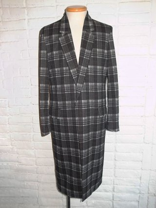 【GalaabenD】Classic Check Jacquard Knit Chester Coat (BLK×O.WHT×BRN)