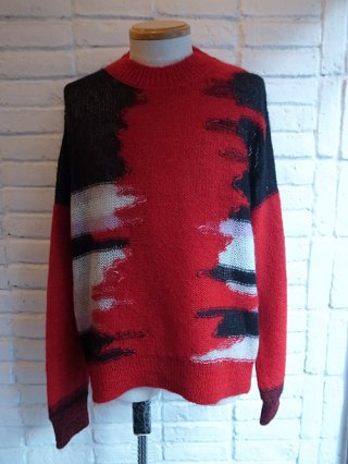【DIET BUTCHER SLIM SKIN】random patter mohair knit pullover (RUBY RED)