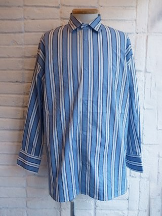 【SUPERTHANKS/スーパーサンクス】STRIPE BACK OPEN LONG SHIRT (SAX/WHITE)