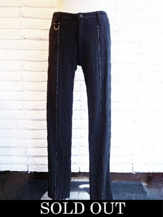 【kiryuyrik/キリュウキリュウ】SILVER925 LINE Stripe Tweed Slacks (BLACK)