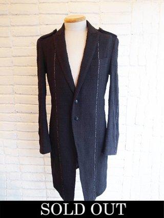 【kiryuyrik/キリュウキリュウ】SILVER925 LINE Stripe Tweed 2Button Long Jacket (BLACK)