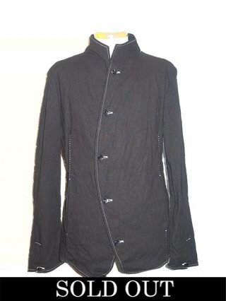 【incarnation/インカネーション】LINEN/COTTON 5 BUTTON FRONT JACKET #2 UNLINED (BLACK)