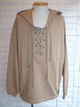 【Iroquois/イロコイ】LACE UP HOODIE (BEIGE)