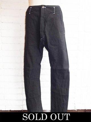 【incarnation/インカネーション】LINEN/COTTON PANTS LONG DARTS SARROUEL (BLACK)