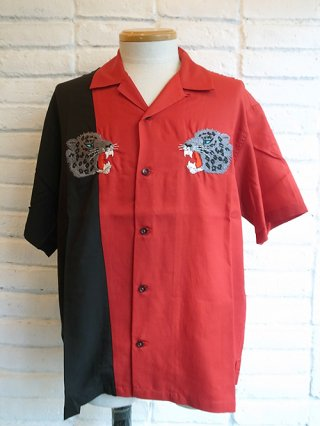 "【roarguns】""LEOPARD"" EMBROIDERY RAYON×DRAPE TWILL S/S SHIRTS (RED×BLACK)"