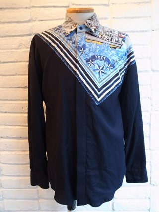 【yoshiokubo/ヨシオクボ】SHIP BANDANA L/S SHIRTS (BLUE)