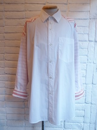 【DIET BUTCHER SLIM SKIN】Patchwork york shirts (WHITE×BORDER)
