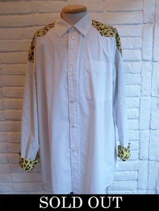 【DIET BUTCHER SLIM SKIN】Patchwork york shirts (WHITE×LEOPARD)