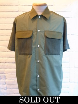 【COOHEM/コーヘン】KNIT PATCHWORK S/S SHIRTS (KHAKI)