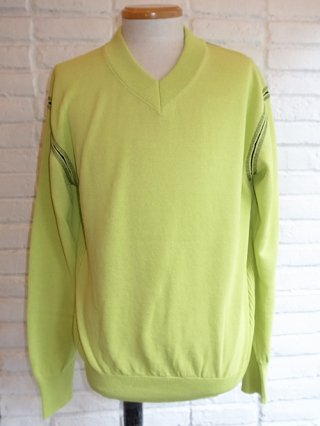 【tashiro/タシロ】WASHI V-NECK KNIT PULLOVER (YELLOW×BLACK)