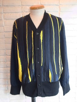 "【tashiro/タシロ】SLAB ""NIGHT VIEW"" KNIT CARDIGAN (NAVY×YELLOW)"