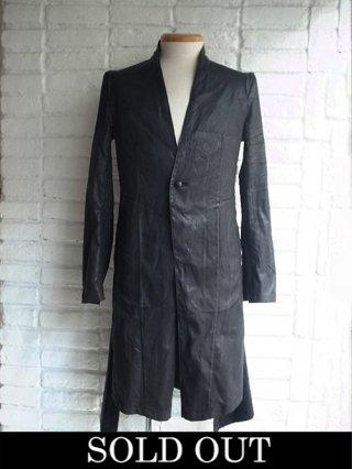【kiryuyrik/キリュウキリュウ】Coating Suede No Collar Shoulder Jacket (BLACK)