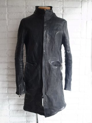 【incarnation/インカネーション】HORSE LEATHER LONG JACKET COAT W/POCKET LINED (BLACK)