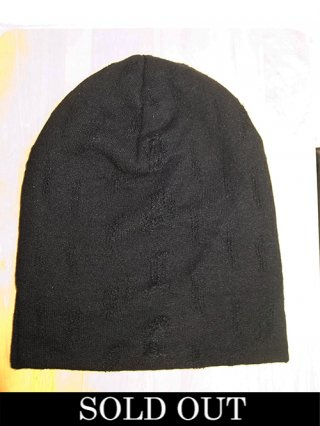 【kiryuyrik/キリュウキリュウ】Damage Border Knit Cap (BLACK&BLACK)
