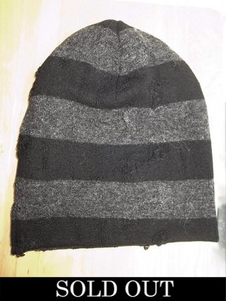 【kiryuyrik/キリュウキリュウ】Damage Border Knit Cap (BLACK&GRAY)