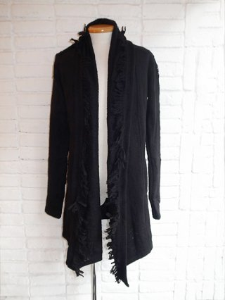 【kiryuyrik/キリュウキリュウ】Damage Border Fringes Shawl Cardigan (BLACK&BLACK)