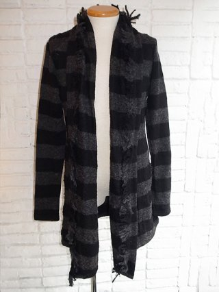 【kiryuyrik/キリュウキリュウ】Damage Border Fringes Shawl Cardigan (BLACK&GRAY)