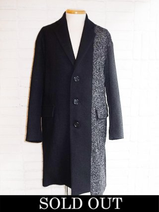【DIET BUTCHER SLIM SKIN】silkwool patchwork coat (BLACK)