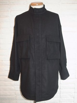 【SUPERTHANKS/スーパーサンクス】MELTON STAND COLLAR SHIRT (BLACK)