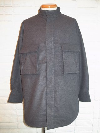 【SUPERTHANKS/スーパーサンクス】MELTON STAND COLLAR SHIRT (C.GRAY)