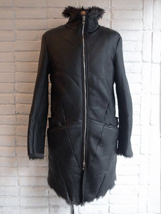 【incarnation/インカネーション】SHEEP SHEARING MOUTON LEATHER ZIP FRONT W/POCKET LONG COAT (BLACK×BLACK)