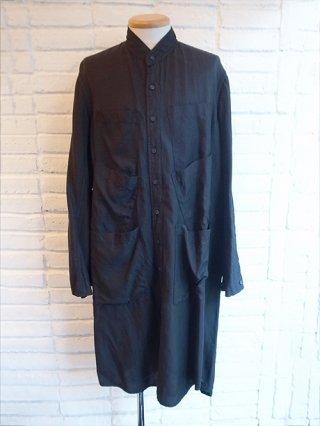 【nude:mm】Garment Dyed Oversized Long Shirt (BLACK)