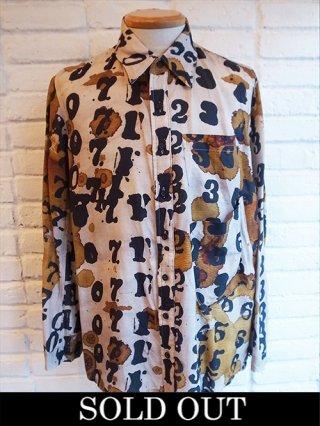 【NUDE:MM/DISTORTION3】Stamped Numbers Inkjet Print Oversized Shirt (MOMOKO NAKAGAWA)