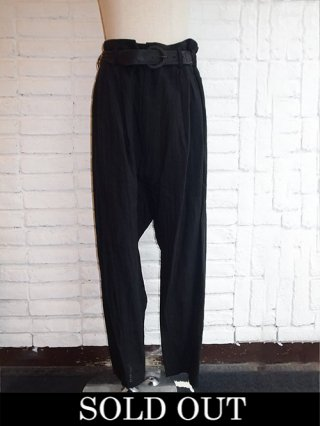 【NUDE:MM】Washed Linen Lawn 2 Tucks Sarouel Pants (BLACK)