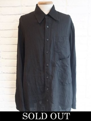 【NUDE:MM】Washed Linen Lawn Shirts (BLACK)