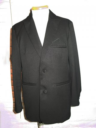 <img class='new_mark_img1' src='https://img.shop-pro.jp/img/new/icons8.gif' style='border:none;display:inline;margin:0px;padding:0px;width:auto;' />【SUPERTHANKS  NOIR】SINGLE JACKET WITH EMBROIDERY (TR BLACK)