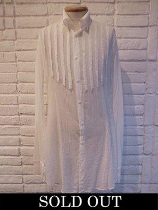 【kiryuyrik/キリュウキリュウ】Chiffon Shirring Sleeve Long Shirts (WHITE)