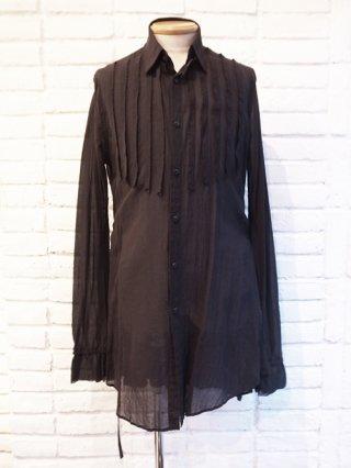 【kiryuyrik/キリュウキリュウ】Chiffon Shirring Sleeve Long Shirts (BLACK)