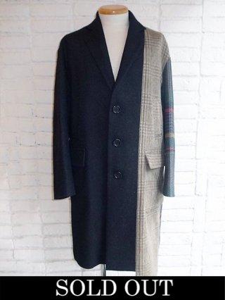 【DIET BUTCHER SLIM SKIN】silkwool patchwork coat (NAVY)