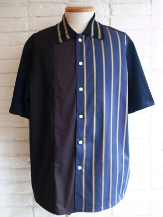 【COOHEM/コーヘン】KNIT PATCHWORK S/S SHIRTS (NAVY)