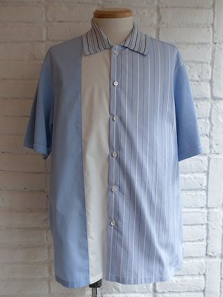 【COOHEM/コーヘン】KNIT PATCHWORK S/S SHIRTS (SAX)