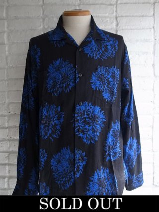 【STRUM/ストラム】ダリアプリント レーヨンシルク ビエラ 長袖シャツ(BLACK×BLUE)