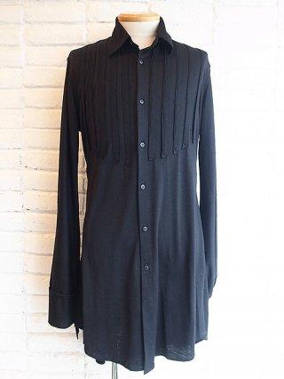 【kiryuyrik/キリュウキリュウ】Wool Jersey Frill Shirts (Black)
